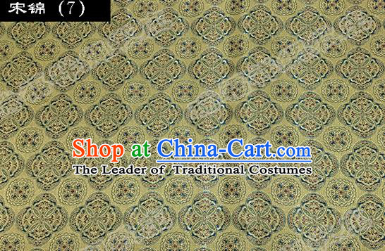Asian Chinese Traditional Embroidered Flowers Yellow Song Brocade Silk Fabric, Top Grade Satin Tang Suit Hanfu Dress Fabric Cheongsam Cloth Material
