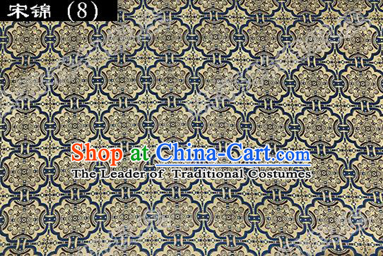 Asian Chinese Traditional Embroidered Blue Figure Yellow Song Brocade Silk Fabric, Top Grade Satin Tang Suit Hanfu Dress Fabric Cheongsam Cloth Material