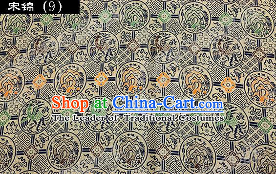 Asian Chinese Traditional Embroidered Dragon and Phoenix Song Brocade Silk Fabric, Top Grade Satin Tang Suit Hanfu Dress Fabric Cheongsam Cloth Material
