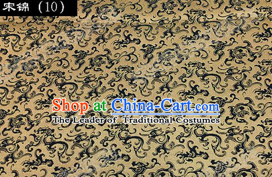 Asian Chinese Traditional Embroidered Dragon Golden Song Brocade Silk Fabric, Top Grade Satin Tang Suit Hanfu Dress Fabric Cheongsam Cloth Material
