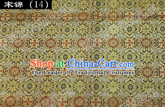 Asian Chinese Traditional Embroidered Golden Song Brocade Silk Fabric, Top Grade Satin Tang Suit Hanfu Dress Fabric Cheongsam Cloth Material