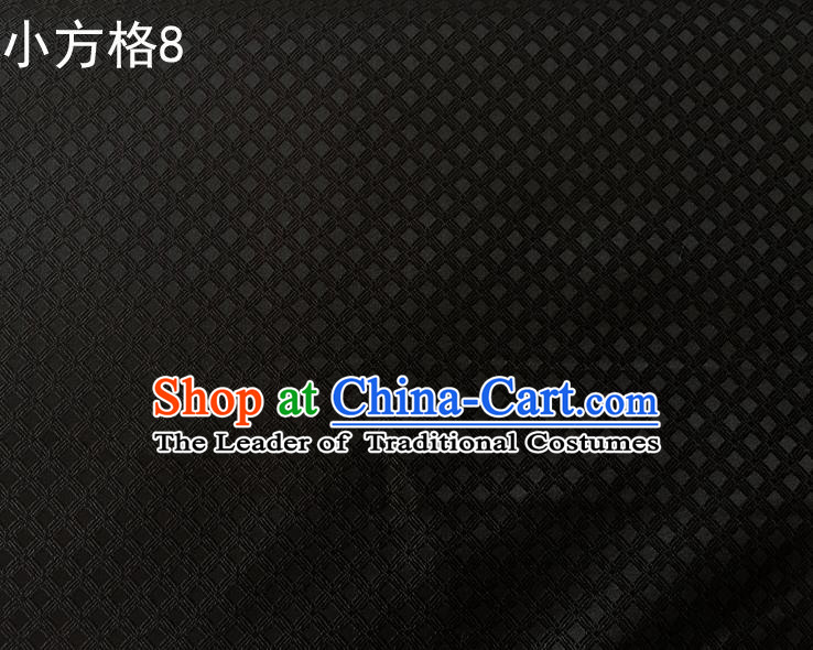 Asian Chinese Traditional Embroidery Small Check Black Silk Fabric, Top Grade Arhat Bed Brocade Tang Suit Hanfu Tibetan Dress Fabric Cheongsam Cloth Material