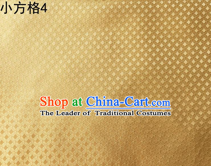 Asian Chinese Traditional Embroidery Small Check Golden Silk Fabric, Top Grade Arhat Bed Brocade Tang Suit Hanfu Tibetan Dress Fabric Cheongsam Cloth Material