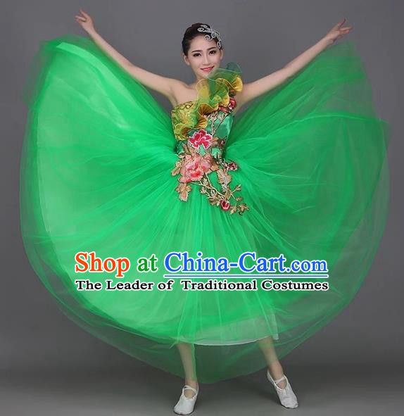 Chinese Classic Stage Performance Dance Costumes, Opening Dance Folk Dance Classic Dance Big Swing One-shoulder Green Veil Dress for Women