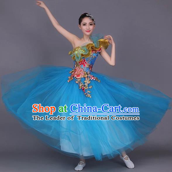 Chinese Classic Stage Performance Dance Costumes, Opening Dance Folk Dance Classic Dance Big Swing One-shoulder Blue Veil Dress for Women
