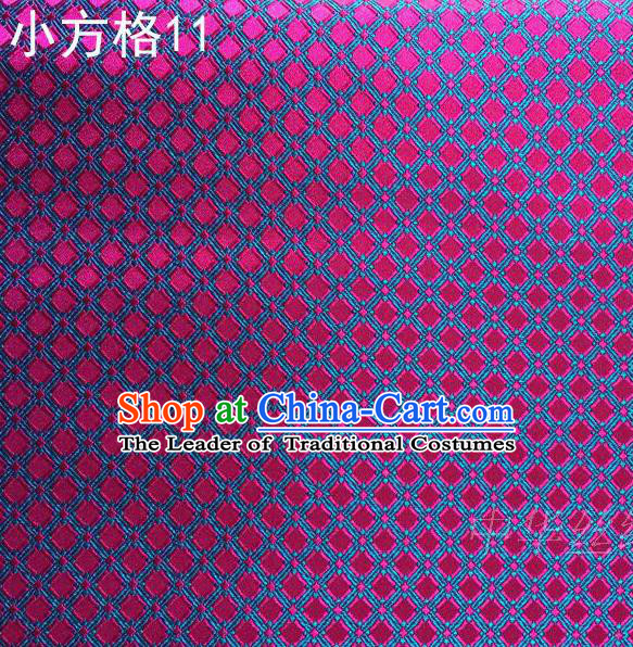 Asian Chinese Traditional Embroidery Rosy Small Check Silk Fabric, Top Grade Arhat Bed Brocade Tang Suit Hanfu Tibetan Dress Fabric Cheongsam Cloth Material