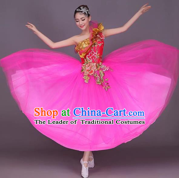Chinese Classic Stage Performance Dance Costumes, Opening Dance Folk Dance Classic Dance Big Swing One-shoulder Pink Veil Dress for Women