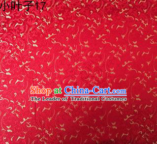 Asian Chinese Traditional Embroidery Leaves Red Satin Silk Fabric, Top Grade Arhat Bed Brocade Tang Suit Hanfu Dress Fabric Cheongsam Cloth Material