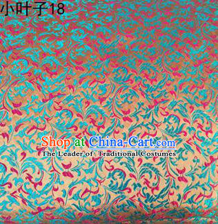 Asian Chinese Traditional Embroidery Blue Leaves Satin Silk Fabric, Top Grade Arhat Bed Brocade Tang Suit Hanfu Dress Fabric Cheongsam Cloth Material