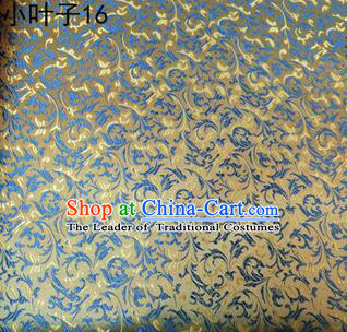 Asian Chinese Traditional Embroidery Leaves Golden Satin Silk Fabric, Top Grade Arhat Bed Brocade Tang Suit Hanfu Dress Fabric Cheongsam Cloth Material