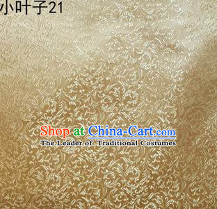 Asian Chinese Traditional Embroidery Leaves Light Golden Satin Silk Fabric, Top Grade Arhat Bed Brocade Tang Suit Hanfu Dress Fabric Cheongsam Cloth Material