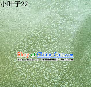 Asian Chinese Traditional Embroidery Leaves Light Green Satin Silk Fabric, Top Grade Arhat Bed Brocade Tang Suit Hanfu Dress Fabric Cheongsam Cloth Material