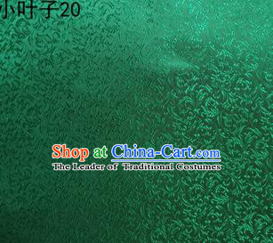 Asian Chinese Traditional Embroidery Leaves Green Satin Silk Fabric, Top Grade Arhat Bed Brocade Tang Suit Hanfu Dress Fabric Cheongsam Cloth Material