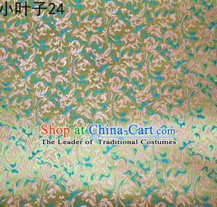 Asian Chinese Traditional Embroidery Green Leaves Satin Silk Fabric, Top Grade Arhat Bed Brocade Tang Suit Hanfu Dress Fabric Cheongsam Cloth Material