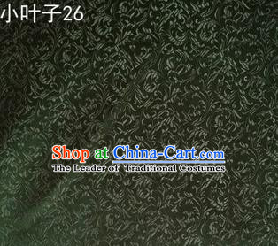 Asian Chinese Traditional Embroidery Leaves Atrovirens Satin Silk Fabric, Top Grade Arhat Bed Brocade Tang Suit Hanfu Dress Fabric Cheongsam Cloth Material