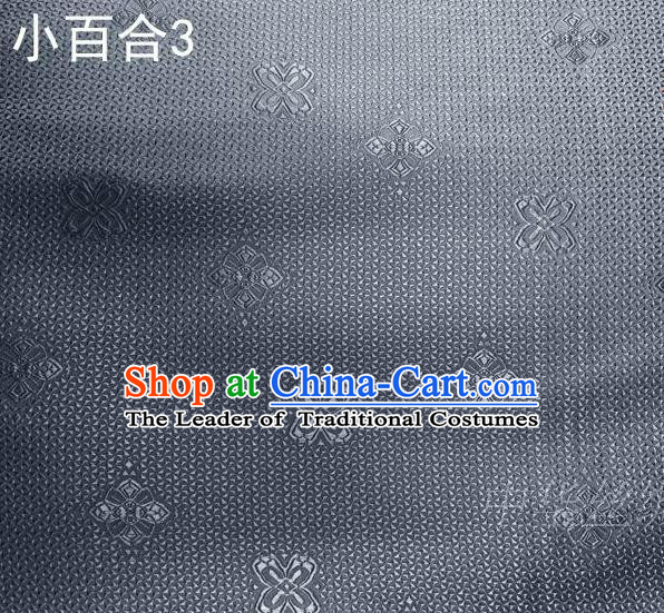 Asian Chinese Traditional Jacquard Weave Satin Grey Silk Fabric, Top Grade Brocade Tang Suit Hanfu Dress Fabric Cheongsam Cloth Material