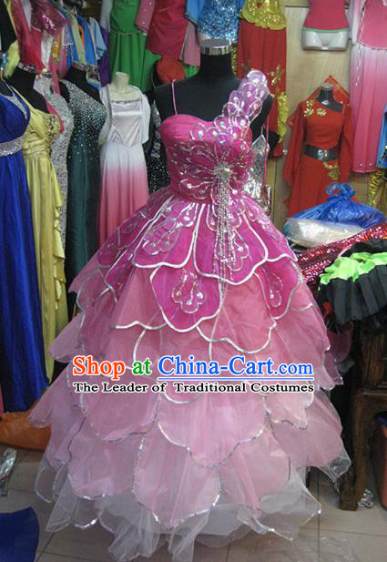 Chinese Classic Stage Performance Dance Costumes, Opening Dance Folk Dance Classic Dance Pink Bubble Dress for Women