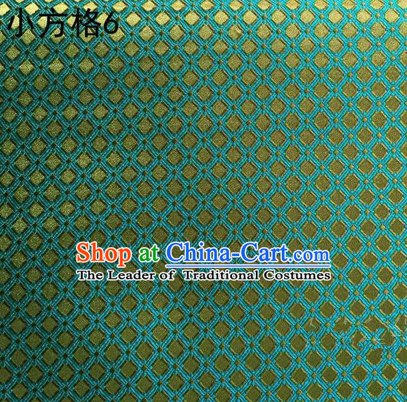 Asian Chinese Traditional Embroidery Small Check Green Silk Fabric, Top Grade Arhat Bed Brocade Tang Suit Hanfu Tibetan Dress Fabric Cheongsam Cloth Material