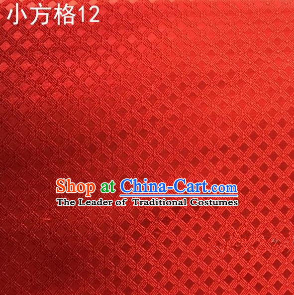 Asian Chinese Traditional Embroidery Small Check Red Silk Fabric, Top Grade Arhat Bed Brocade Tang Suit Hanfu Tibetan Dress Fabric Cheongsam Cloth Material