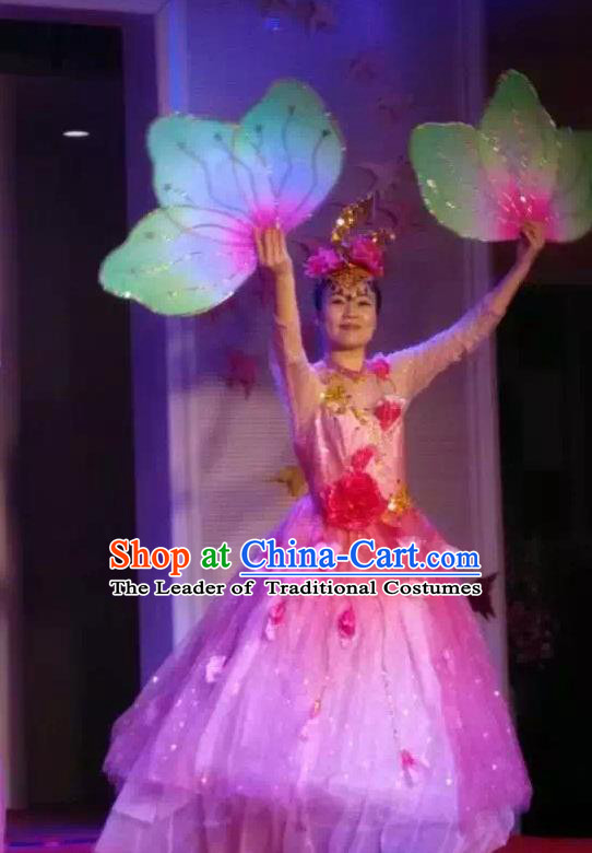 Chinese Classic Stage Performance Dance Costumes, Opening Dance Folk Dance Chorus Classic Dance Pink Bubble Dress for Women