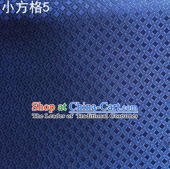 Asian Chinese Traditional Embroidery Small Check Navy Silk Fabric, Top Grade Arhat Bed Brocade Tang Suit Hanfu Tibetan Dress Fabric Cheongsam Cloth Material