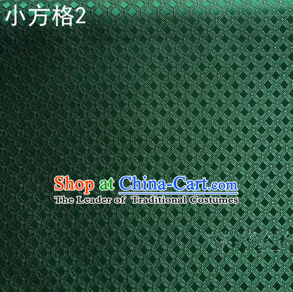 Asian Chinese Traditional Embroidery Small Check Deep Green Silk Fabric, Top Grade Arhat Bed Brocade Tang Suit Hanfu Tibetan Dress Fabric Cheongsam Cloth Material