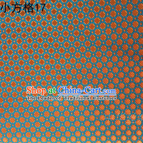 Asian Chinese Traditional Embroidery Small Check Orange Silk Fabric, Top Grade Arhat Bed Brocade Tang Suit Hanfu Tibetan Dress Fabric Cheongsam Cloth Material