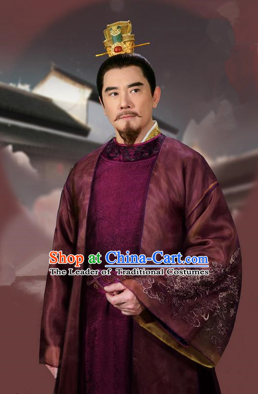 Traditional Asian Chinese Ancient Song Dynasty Royal Highness Costume, China Elegant Hanfu Clothing Minister Nobility Embroidered Robes Complete Set