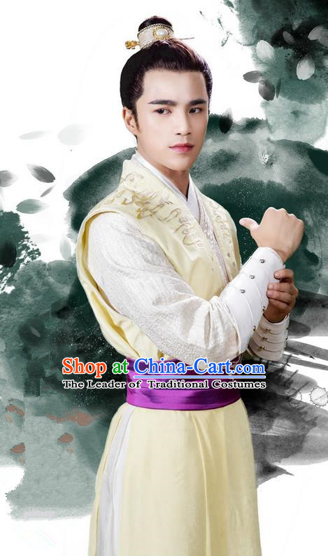 Traditional Asian Chinese Ancient Song Dynasty Imperial Prince Costume, China Elegant Hanfu Clothing Nobility Youth Embroidered Robes and Headpiece Complete Set