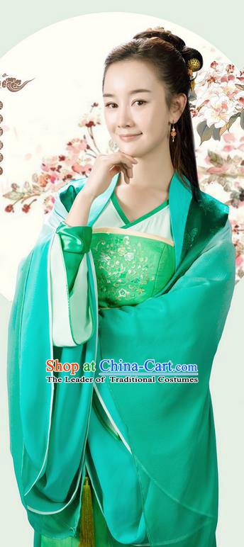 Asian Chinese Ancient Song Dynasty Imperial Princess Costume and Handmade Headpiece Complete Set, China Elegant Hanfu Clothing Nobility Young Lady Embroidered Dress