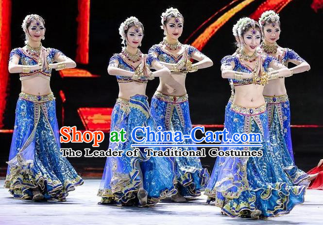 Traditional Indian Classical Dance Costume, India Belly Dance Raks Sharki Blue Dress for Women