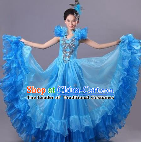 Chinese Classic Stage Performance Dance Costumes, Opening Dance Competition Blue Dress, Folk Dance Classic Big Swing Dance Clothing for Women