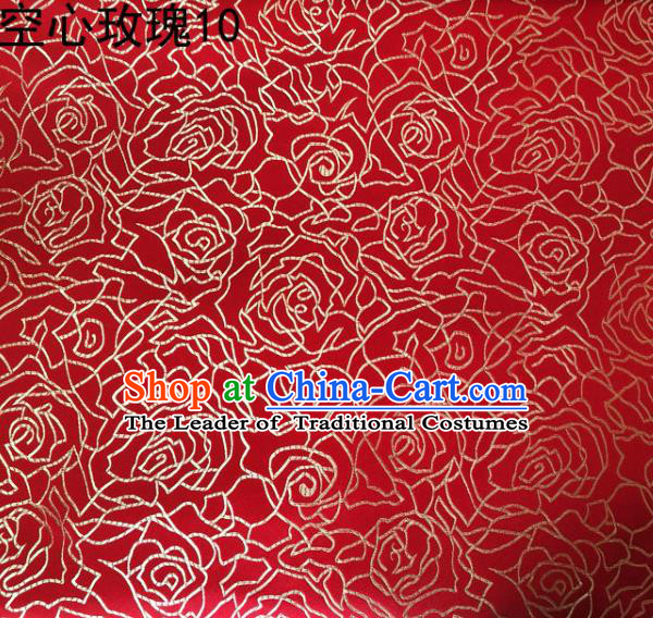 Asian Chinese Traditional Jacquard Weave Embroidered Golden Rose Flowers Red Satin Silk Fabric, Top Grade Brocade Tang Suit Hanfu Coat Dress Fabric Cheongsam Cloth Material