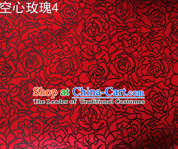 Asian Chinese Traditional Jacquard Weave Embroidered Black Rose Flowers Red Satin Silk Fabric, Top Grade Brocade Tang Suit Hanfu Coat Dress Fabric Cheongsam Cloth Material