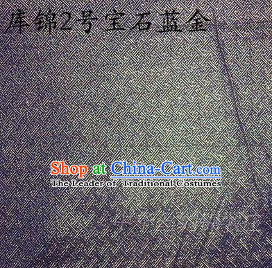 Asian Chinese Traditional Jacquard Weave Blue Golden Xiuhe Suit Satin Silk Fabric, Top Grade Brocade Tang Suit Hanfu Dress Fabric Cheongsam Cloth Material