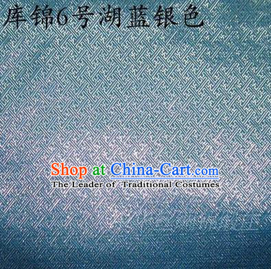 Asian Chinese Traditional Jacquard Weave Blue Sliver Xiuhe Suit Satin Silk Fabric, Top Grade Brocade Tang Suit Hanfu Dress Fabric Cheongsam Cloth Material