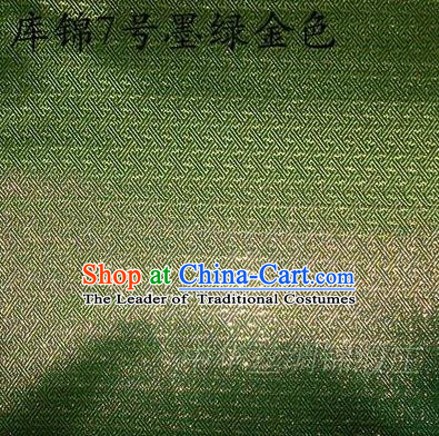 Asian Chinese Traditional Jacquard Weave Green Golden Xiuhe Suit Satin Silk Fabric, Top Grade Brocade Tang Suit Hanfu Dress Fabric Cheongsam Cloth Material