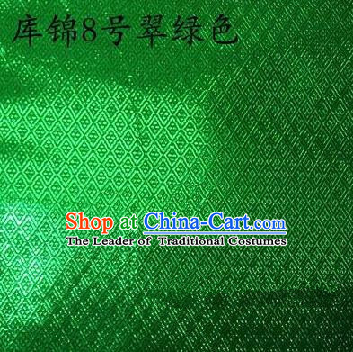 Asian Chinese Traditional Jacquard Weave Green Xiuhe Suit Satin Silk Fabric, Top Grade Brocade Tang Suit Hanfu Dress Fabric Cheongsam Cloth Material