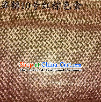 Asian Chinese Traditional Jacquard Weave Golden Brown Xiuhe Suit Satin Silk Fabric, Top Grade Brocade Tang Suit Hanfu Dress Fabric Cheongsam Cloth Material