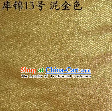 Asian Chinese Traditional Jacquard Weave Mud Golden Xiuhe Suit Satin Silk Fabric, Top Grade Brocade Tang Suit Hanfu Dress Fabric Cheongsam Cloth Material