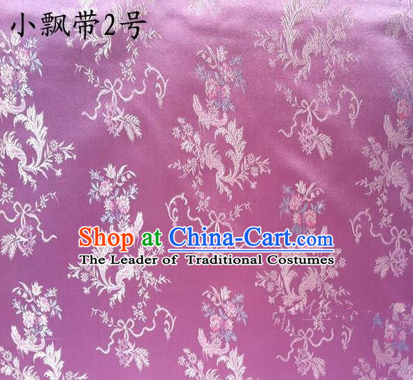Asian Chinese Traditional Embroidering Flowers Xiuhe Suit Satin Lilac Silk Fabric, Top Grade Brocade Tang Suit Hanfu Full Dress Fabric Cheongsam Cloth Material