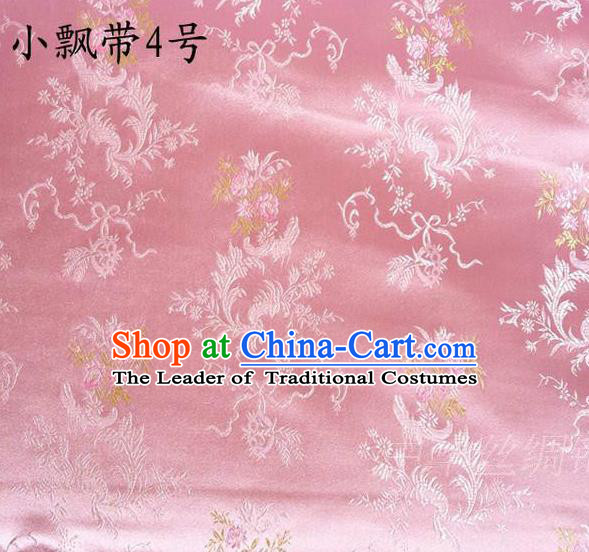 Asian Chinese Traditional Embroidering Flowers Xiuhe Suit Satin Pink Silk Fabric, Top Grade Brocade Tang Suit Hanfu Full Dress Fabric Cheongsam Cloth Material