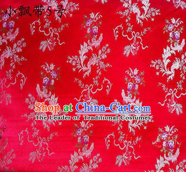 Asian Chinese Traditional Embroidering Flowers Xiuhe Suit Satin Red Silk Fabric, Top Grade Brocade Tang Suit Hanfu Full Dress Fabric Cheongsam Cloth Material