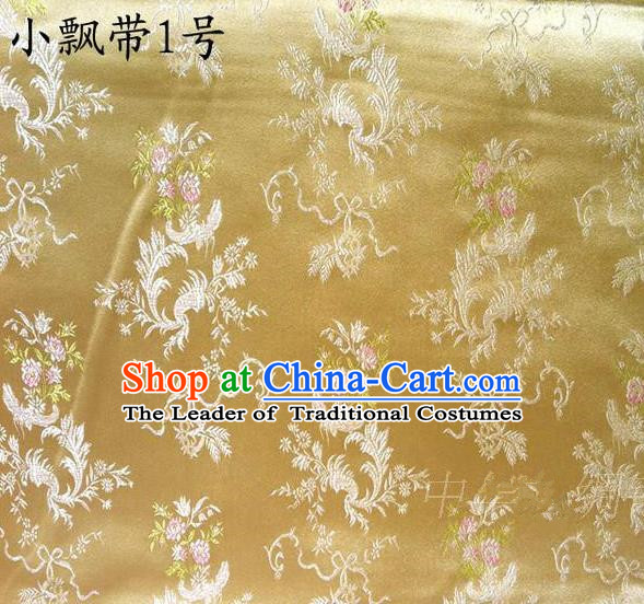 Asian Chinese Traditional Embroidering Flowers Xiuhe Suit Satin Golden Silk Fabric, Top Grade Brocade Tang Suit Hanfu Full Dress Fabric Cheongsam Cloth Material