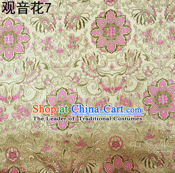 Asian Chinese Traditional Embroidering Avalokitesvara Flowers Thangka Satin Golden Silk Fabric, Top Grade Brocade Tang Suit Hanfu Full Dress Fabric Cheongsam Cloth Material