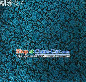 Asian Chinese Traditional Embroidering Flower Peacock Blue Xiuhe Suit Satin Thangka Silk Fabric, Top Grade Brocade Tang Suit Hanfu Dress Fabric Cheongsam Cloth Material