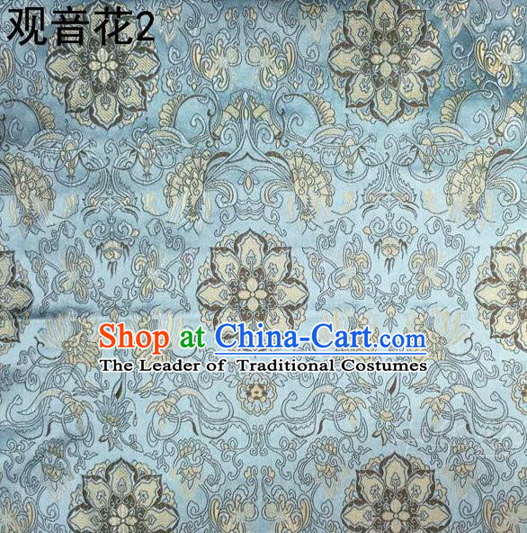 Asian Chinese Traditional Embroidering Avalokitesvara Flowers Thangka Satin Light Blue Silk Fabric, Top Grade Brocade Tang Suit Hanfu Full Dress Fabric Cheongsam Cloth Material