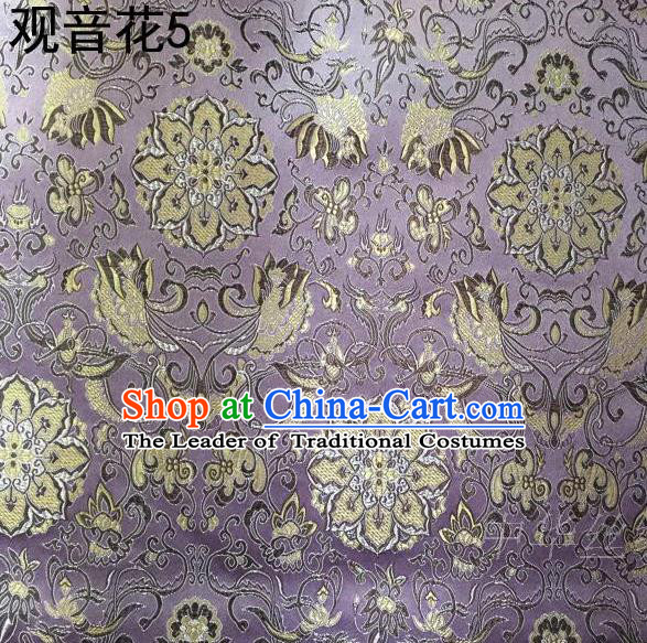 Asian Chinese Traditional Embroidering Avalokitesvara Flowers Thangka Satin Lilac Silk Fabric, Top Grade Brocade Tang Suit Hanfu Full Dress Fabric Cheongsam Cloth Material