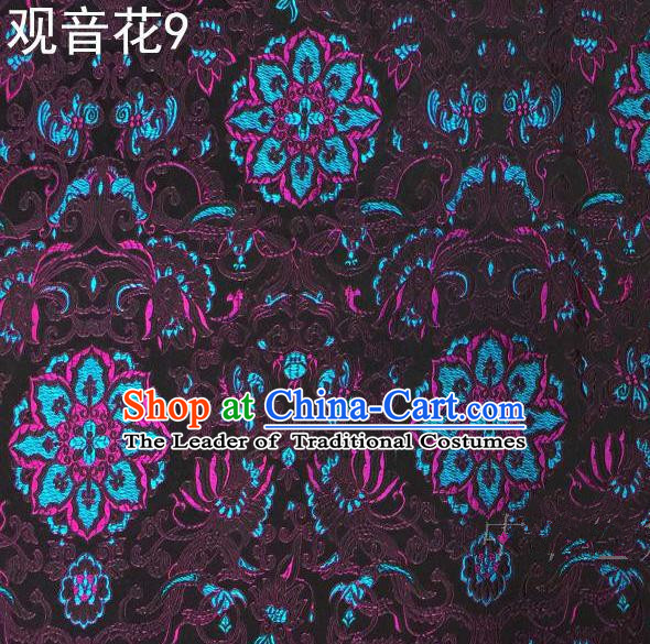 Asian Chinese Traditional Embroidering Avalokitesvara Flowers Thangka Satin Purple Silk Fabric, Top Grade Brocade Tang Suit Hanfu Full Dress Fabric Cheongsam Cloth Material