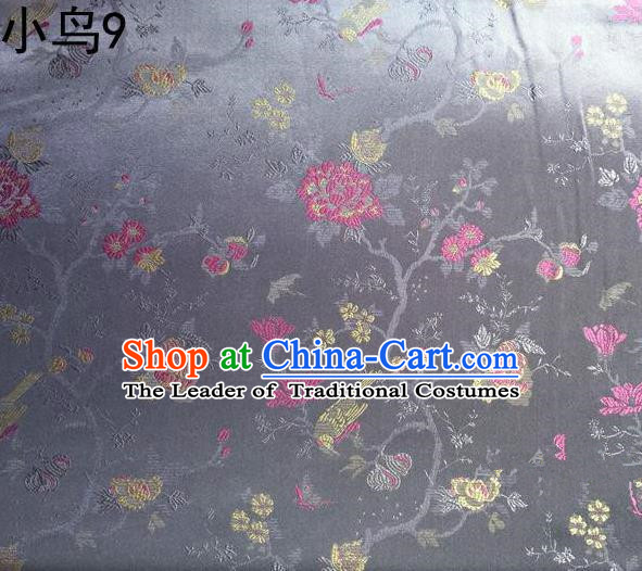Asian Chinese Traditional Embroidery Magpie Peony Satin Sliver Silk Fabric, Top Grade Brocade Tang Suit Hanfu Full Dress Fabric Cheongsam Cloth Material